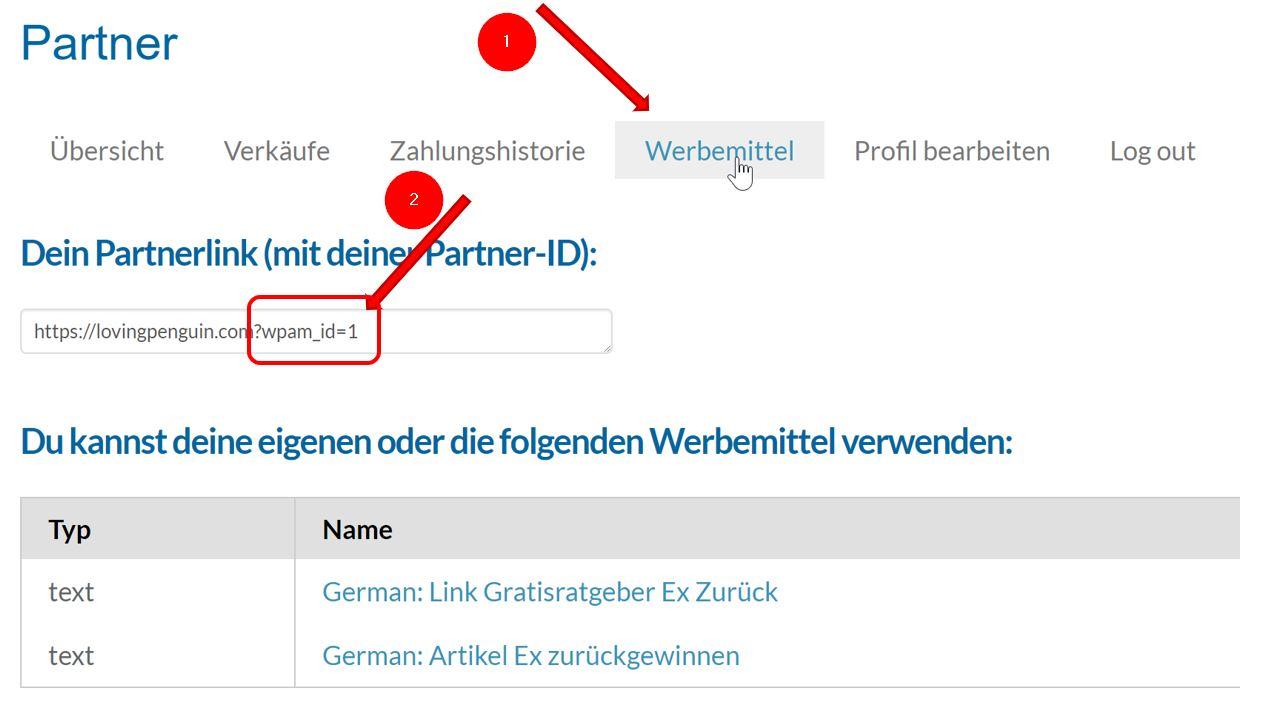 Anleitung Partnerprogramm - Werbemittel